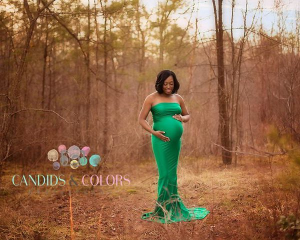 Rent this fitted maternity gown for your photo shoot