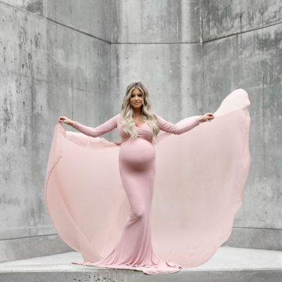 pink maternity dress longsleeve
