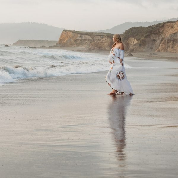 Rent this off the shoulder, embroidered dress for your maternity photo shoot